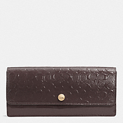 COACH SOFT WALLET IN LOGO EMBOSSED PATENT LEATHER - LIGHT GOLD/OXBLOOD - F52458