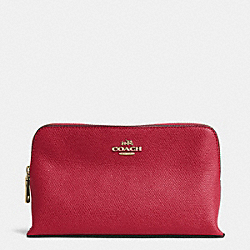 COACH SMALL COSMETIC CASE IN CROSSGRAIN LEATHER - LIGHT GOLD/RED CURRANT - F52461