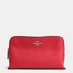 COACH COSMETIC CASE 19 IN CROSSGRAIN LEATHER - LIGHT GOLD/RED - F52461