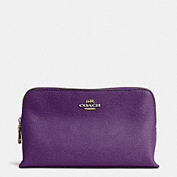COACH SMALL COSMETIC CASE IN CROSSGRAIN LEATHER - LIGHT GOLD/VIOLET - F52461