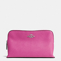 COACH SMALL COSMETIC CASE IN CROSSGRAIN LEATHER - SILVER/FUCHSIA - F52461