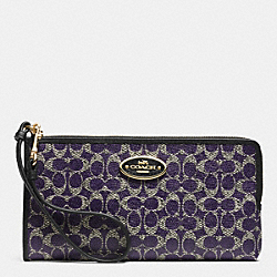 COACH L-ZIP WALLET IN SIGNATURE COATED CANVAS - LIGHT GOLD/VIOLET/BLACK - F52462