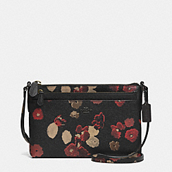 COACH SWINGPACK WITH POP-UP POUCH IN FLORAL PRINT LEATHER - BN/BLACK MULTI - F52478