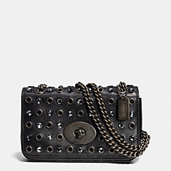COACH JEWELS AND GROMMETS MINI CHAIN CROSSBODY IN LEATHER - BNBLK - F52482