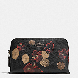 COACH SMALL COSMETIC CASE IN FLORAL PRINT LEATHER - BN/BLACK MULTI - F52501