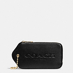 COACH HANGTAG MULITIFUNCTION CASE IN LEATHER - LIGHT GOLD/BLACK - F52507