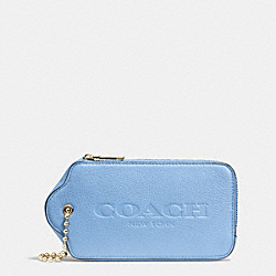 COACH HANGTAG MULTIFUNCTION CASE IN LEATHER - LIGHT GOLD/PALE BLUE - F52507