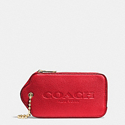 COACH HANGTAG MULTIFUNCTION CASE IN LEATHER - LIGHT GOLD/RED - F52507