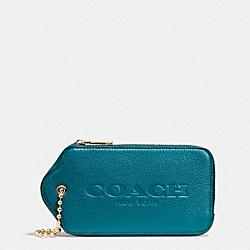 COACH HANGTAG MULITIFUNCTION CASE IN LEATHER - LIGHT GOLD/TEAL - F52507