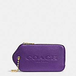 HANGTAG MULITIFUNCTION CASE IN LEATHER - f52507 - LIGHT GOLD/VIOLET