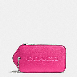 COACH HANGTAG MULITIFUNCTION CASE IN LEATHER - SILVER/FUCHSIA - F52507
