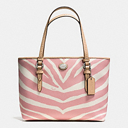 COACH PEYTON ZEBRA PRINT TOP HANDLE TOTE - SILVER/PINK TULLE - F52532