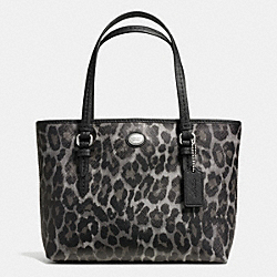 COACH PEYTON OCELOT PRINT TOP HANDLE TOTE - SILVER/GREY MULTI - F52533