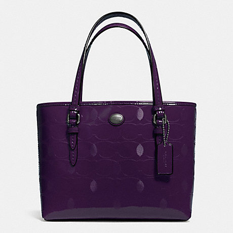COACH PEYTON LINEAR C EMBOSSED PATENT TOP HANDLE TOTE - GUNMETAL/PLUM - f52534