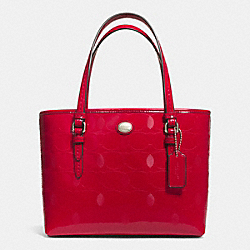 COACH PEYTON LINEAR C EMBOSSED PATENT TOP HANDLE TOTE - SILVER/RED - F52534