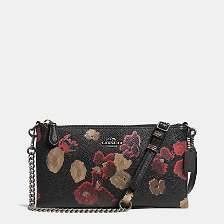COACH KYLIE CROSSBODY IN FLORAL PRINT LEATHER -  BN/BLACK MULTI - f52543