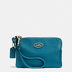 COACH L-ZIP SMALL WRISTLET IN LEATHER - LIGHT GOLD/TEAL - F52553