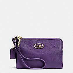 COACH L-ZIP SMALL WRISTLET IN LEATHER - LIGHT GOLD/VIOLET - F52553