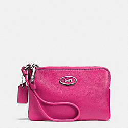 COACH L-ZIP SMALL WRISTLET IN LEATHER - SILVER/FUCHSIA - F52553
