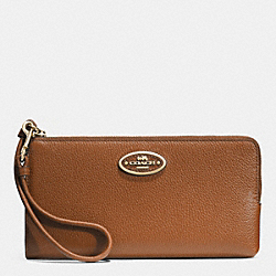 COACH L-ZIP WALLET IN LEATHER - LIGHT GOLD/SADDLE - F52555