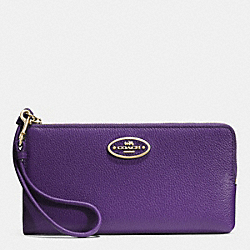 COACH L-ZIP WALLET IN LEATHER - LIGHT GOLD/VIOLET - F52555