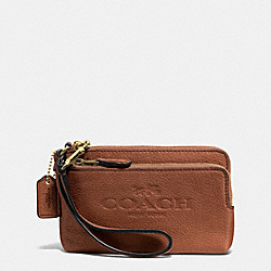 PEBBLE LEATHER DOUBLE CORNER ZIP WRISTLET - f52556 - LIGHT GOLD/SADDLE