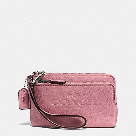 Double Zip Wristlet in Leather Double Corner Zip Wristlet