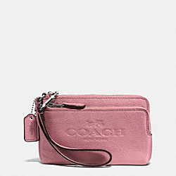 COACH PEBBLE LEATHER DOUBLE CORNER ZIP WRISTLET - SILVER/SHADOW ROSE - F52556
