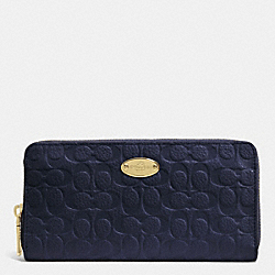 COACH SIGNATURE EMBOSSED PEBBLE LEATHER ACCORDION ZIP WALLET - LIGHT GOLD/MIDNIGHT - F52557