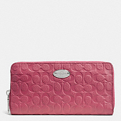 COACH SIGNATURE EMBOSSED PEBBLE LEATHER ACCORDION ZIP WALLET - SILVER/SUNSET RED - F52557
