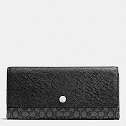 COACH SOFT WALLET IN SIGNATURE JACQUARD - SILVER/BLACK SMOKE/BLACK - F52575