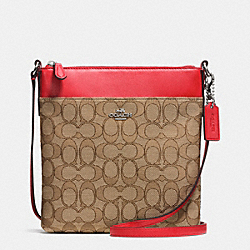 NORTH/SOUTH SWINGPACK IN SIGNATURE - SILVER/KHAKI/TRUE RED - COACH F52576