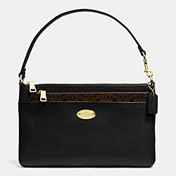 COACH LEATHER POP POUCH - LIGHT GOLD/BLACK - F52598