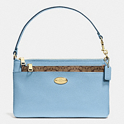 COACH POP UP POUCH IN CROSSGRAIN LEATHER - LIGHT GOLD/PALE BLUE - F52598