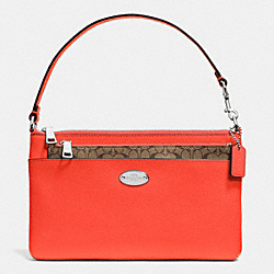 LEATHER POP POUCH - f52598 - SILVER/CORAL