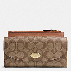 COACH POP SLIM ENVELOPE WALLET IN SIGNATURE - LIGHT GOLD/KHAKI/SADDLE - F52601