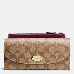 COACH POP SLIM ENVELOPE WALLET IN SIGNATURE - IMITATION GOLD/KHAKI/SHERRY - F52601