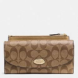 COACH POP SLIM ENVELOPE WALLET IN SIGNATURE - IMITATION GOLD/KHAKI/GOLD - F52601