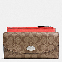 COACH SIGNATURE CANVAS POP SLIM ENVELOPE WALLET - SILVER/KHAKI/CORAL - F52601