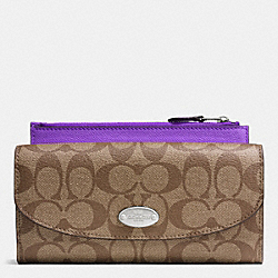 COACH POP SLIM ENVELOPE WALLET IN SIGNATURE - SILVER/KHAKI/PURPLE IRIS - F52601