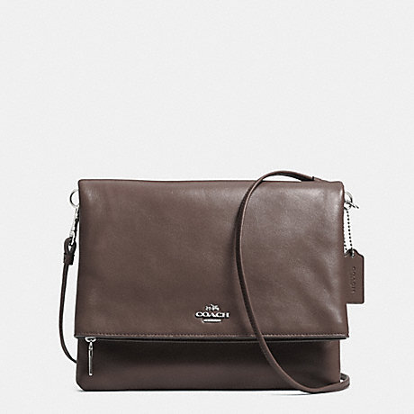 COACH FOLDOVER CROSSBODY IN LEATHER -  SILVER/MINK - f52606