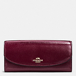 COACH POP SLIM ENVELOPE IN CROSSGRAIN LEATHER - IMITATION GOLD/SHERRY - F52628