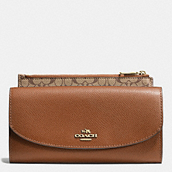 POP SLIM ENVELOPE IN CROSSGRAIN LEATHER - LIGHT GOLD/SADDLE - COACH F52628