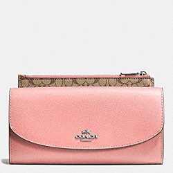 POP SLIM ENVELOPE IN CROSSGRAIN LEATHER - SILVER/BLUSH - COACH F52628