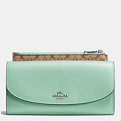 POP SLIM ENVELOPE IN CROSSGRAIN LEATHER - SILVER/SEAGLASS - COACH F52628