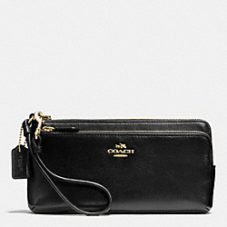 COACH DOUBLE L-ZIP WALLET IN LEATHER - LIGHT GOLD/BLACK - F52636