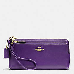 COACH DOUBLE L-ZIP WALLET IN LEATHER - LIGHT GOLD/VIOLET - F52636