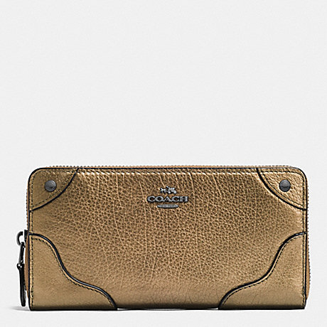 COACH MICKIE ACCORDION ZIP WALLET IN GRAIN LEATHER - ANTIQUE NICKEL/BRASS - f52645