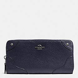 COACH MICKIE ACCORDION ZIP WALLET IN GRAIN LEATHER - ANTIQUE NICKEL/MIDNIGHT - F52645