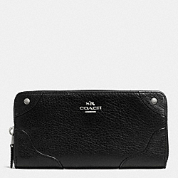 MICKIE ACCORDION ZIP WALLET IN GRAIN LEATHER - SILVER/BLACK - COACH F52645